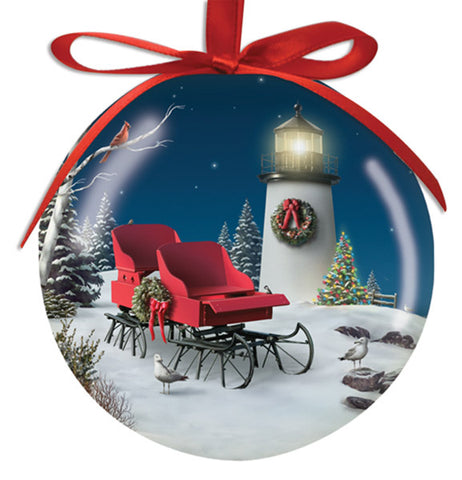 Lighthouse and Sleigh Ornament