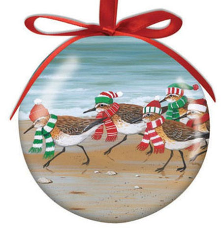 Holiday Sand Pipers Ornament