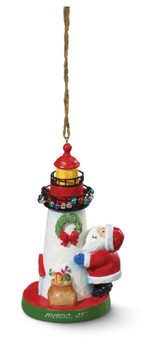 Large Santa and Lighthouse Ornament