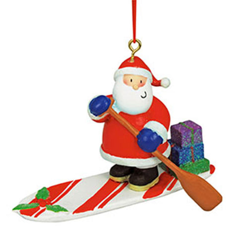 Paddleboarding Santa Ornament