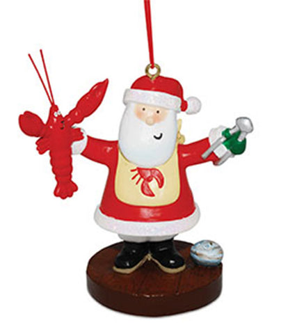 Santa Eating Lobster Ornament