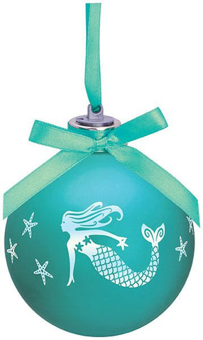 Frosted Mermaid Light Up Glass Ornament