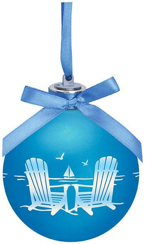 Frosted Beach Chair Light Up Glass Ornament