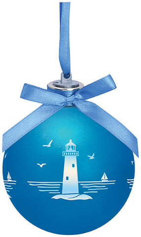 Frosted Lighthouse Light Up Glass Ornament