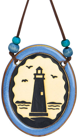 Lighthouse Pottery Disk Ornament