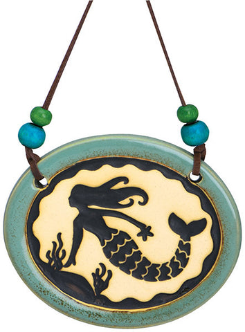 Mermaid Pottery Disk Ornament