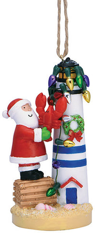 Santa and Lobster by Lighthouse Ornament