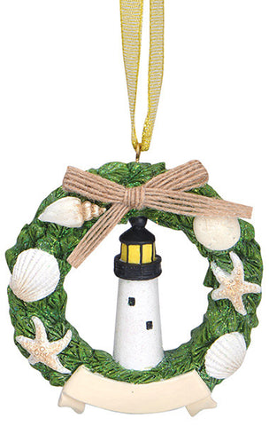 Lighthouse in Wreath Ornament