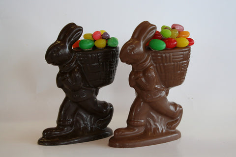9.5 oz Solid Chocolate Bunny with a Basket full of Easter Eggs.