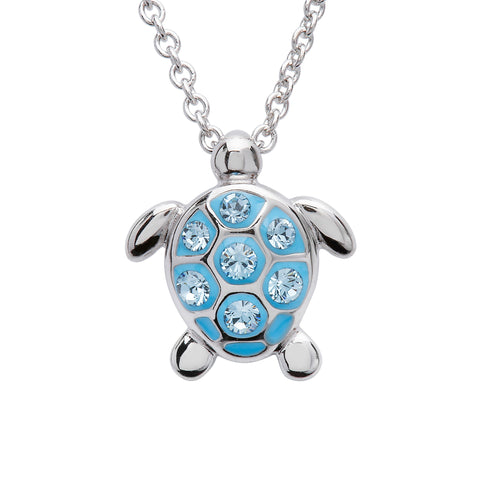 Blue Crystal Sea Turtle Necklace