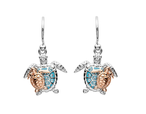 Mother and Baby Sea Turtle Drop Earrings
