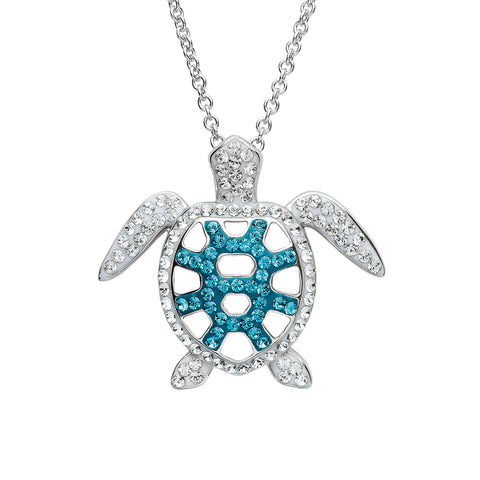 Silver and Blue Crystal Sea Turtle Necklace