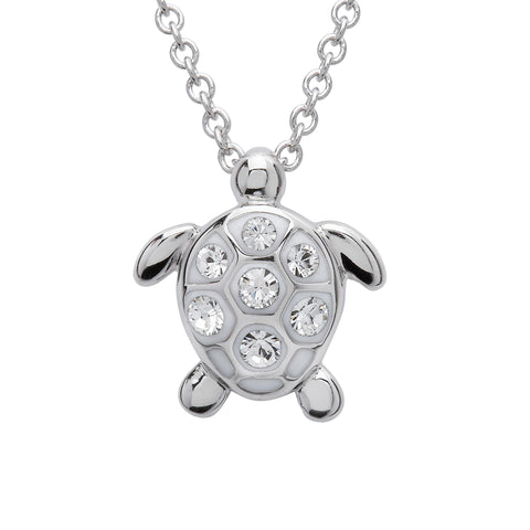 White Crystal Sea Turtle Necklace