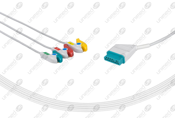 Nihon Kohden Compatible One Piece Reusable ECG Cable - IEC - 3 Leads Grabber