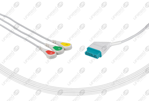 Nihon Kohden Compatible One Piece Reusable ECG Cable - IEC - 3 Leads Snap