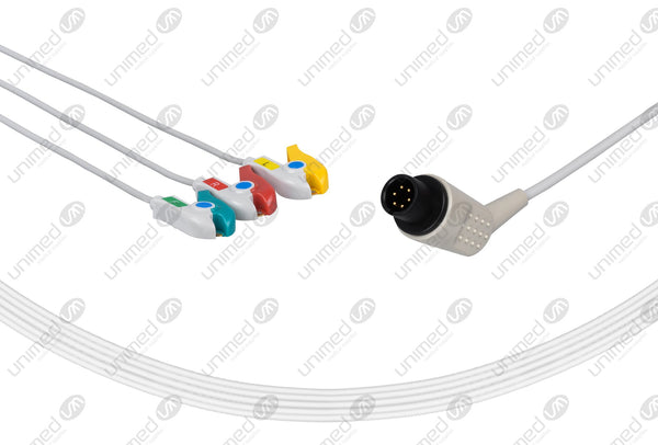 AAMI 6Pin Compatible One Piece Reusable ECG Cable - IEC - 3 Leads Grabber