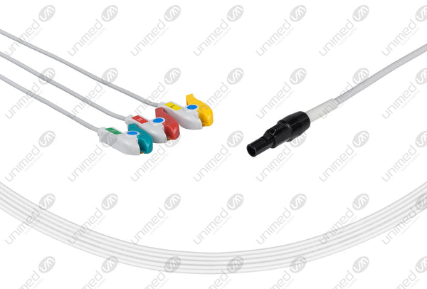 Welch Allyn Compatible One Piece Reusable ECG Cable - IEC - 3 Leads Grabber