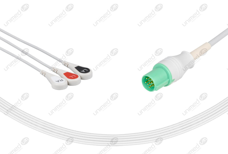 GE-Hellige Compatible One Piece Reusable ECG Cable 3 Leads Snap