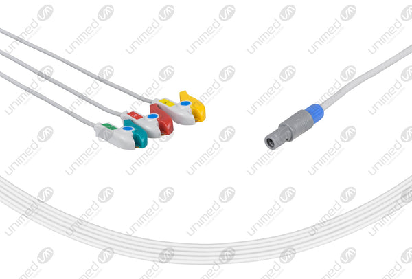 Siemens CT Compatible One Piece Reusable ECG Cable - IEC - 3 Leads Grabber