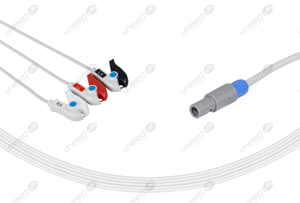 Siemens CT Compatible One Piece Reusable ECG Cable 3 Leads Grabber
