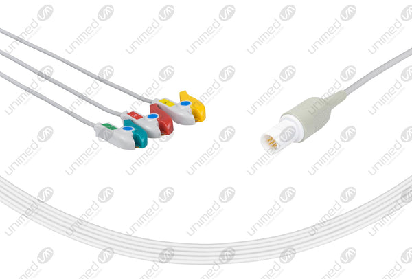 Drager Compatible One Piece Reusable ECG Cable - IEC - 3 Leads Grabber