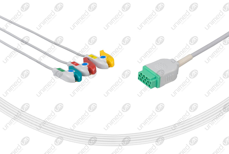 Marquette Compatible One Piece Reusable ECG Cable - IEC - 3 Leads Grabber