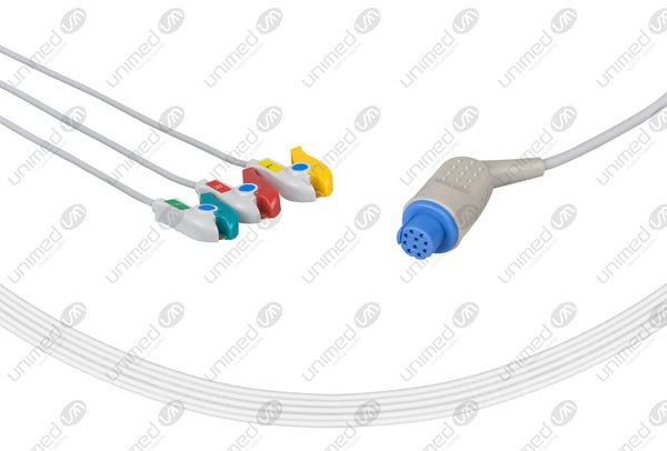 Datex Compatible One Piece Reusable ECG Cable - IEC - 3 Leads Grabber
