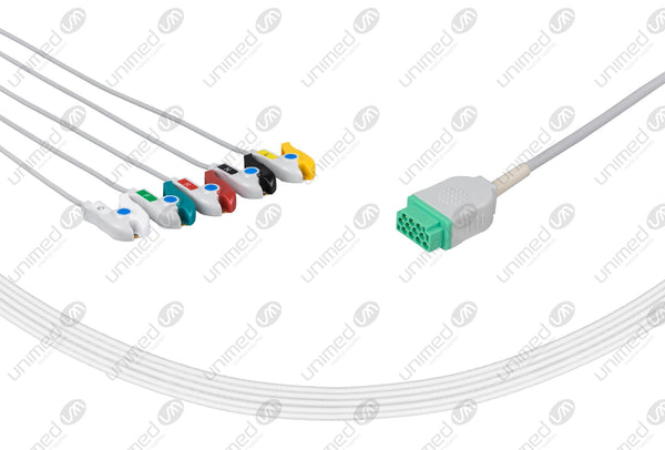 Marquette Compatible One Piece Reusable ECG Cable - IEC - 5 Leads Grabber