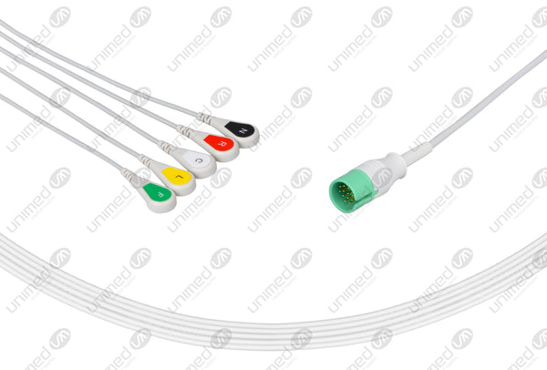 Spacelabs Compatible One Piece Reusable ECG Cable - IEC - 5 Leads Snap