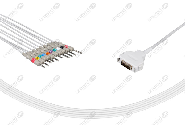 Fukuda Compatible One Piece Reusable EKG Cable-CP-101LD, CP-104L 3mm Needle