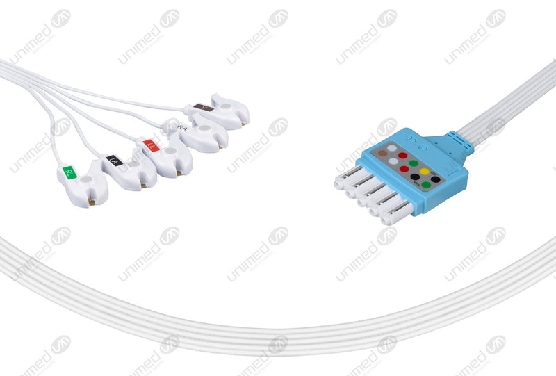 Philips Compatible Disposable ECG Lead Wire - AHA - 5 Leads Grabber Box of 10