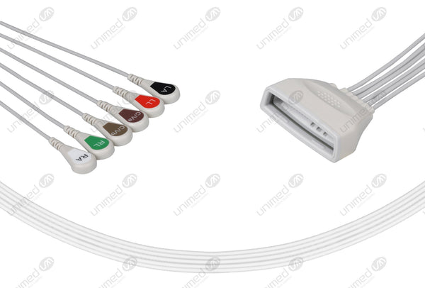 Philips MX40 Compatible Reusable ECG Lead Wires 6 Leads Snap