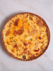 Chorizo, Roast Red Pepper and Black Olive Tart (10 inch tart)