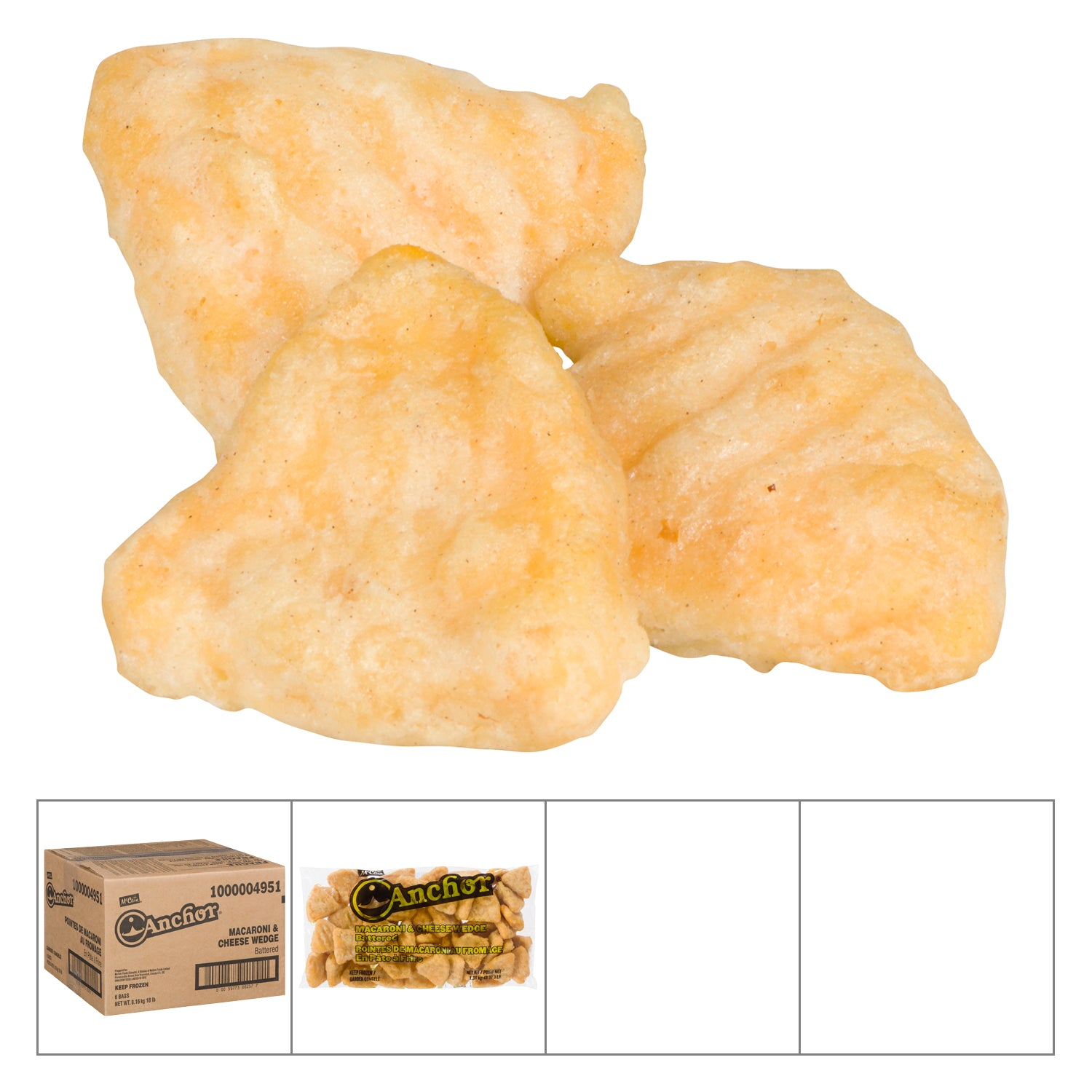 Anchor Frozen Macaroni and Cheese Stuffed Wedge Bites 3 lb - 6 Pack [$5.00/lb]