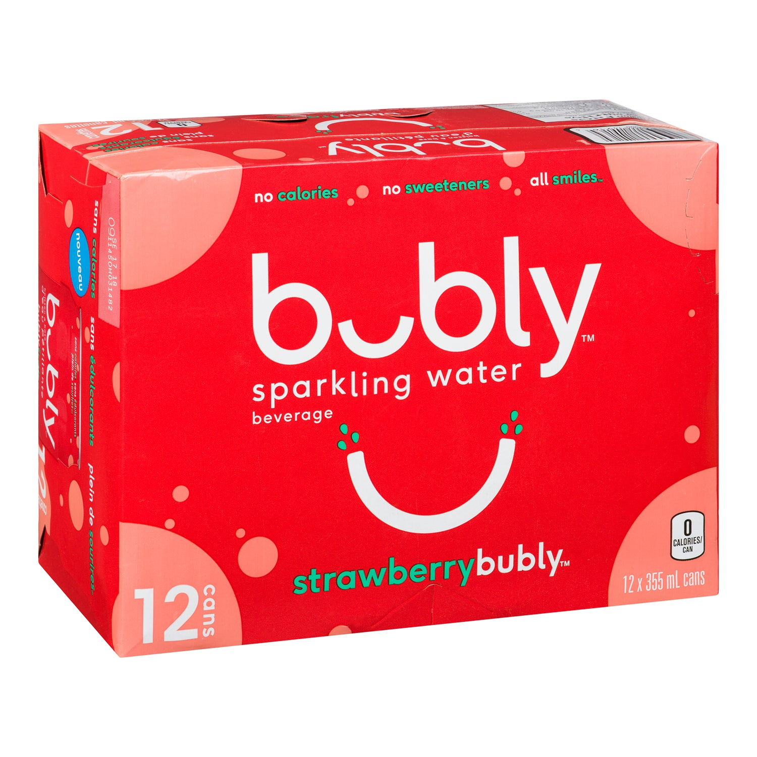 Bubly Strawberry Sparkling Water 355 ml - 12 Pack [$0.44/each]