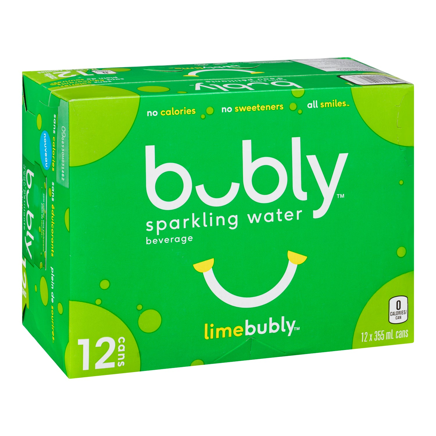 Bubly Lime Flavoured Sparkling Water 12 oz - 12 Pack [$0.44/can]