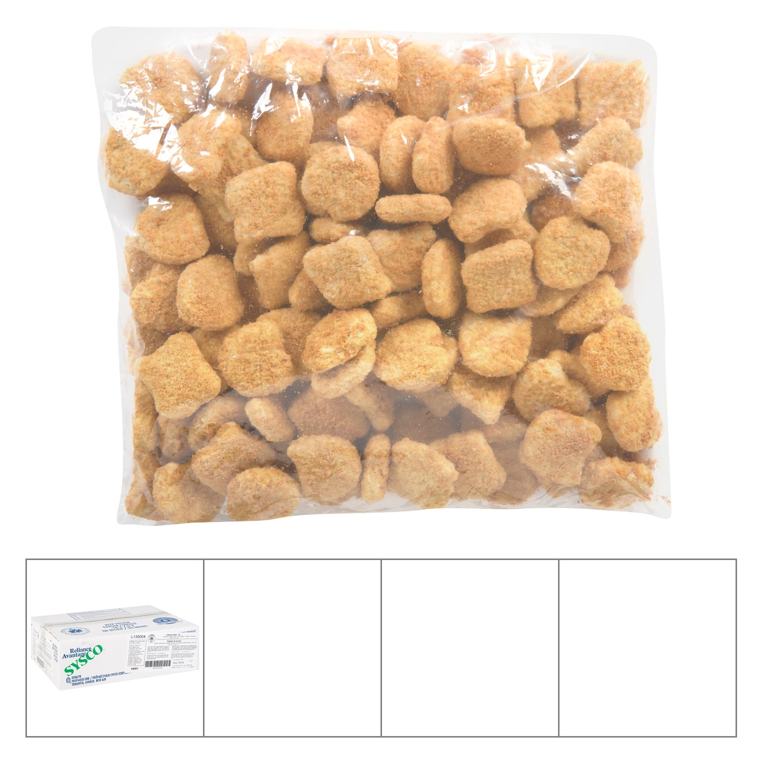 Sysco Reliance Frozen Breaded Chicken Nugget 100% White Meat 2 kg - 2 Pack [$11.00/kg]