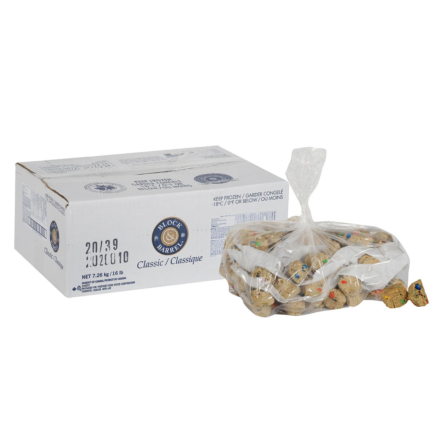 Bakers Source Frozen Monster Cookie Dough 2 oz Pre-portioned - 128 Pack [$0.37/each]