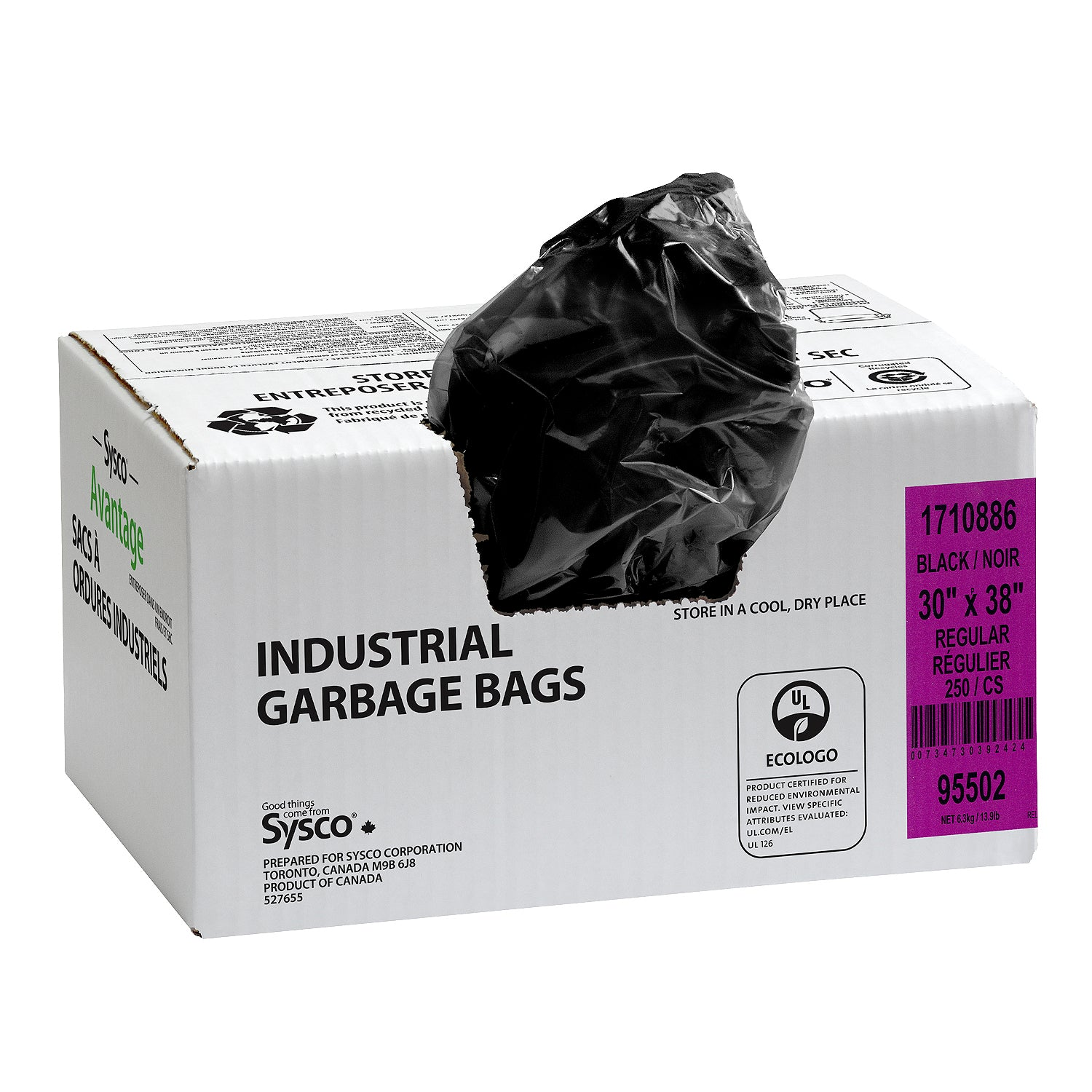 Sysco Reliance Regular Black Garbage Bags 30x38 - 250 Pack [$0.11/each]