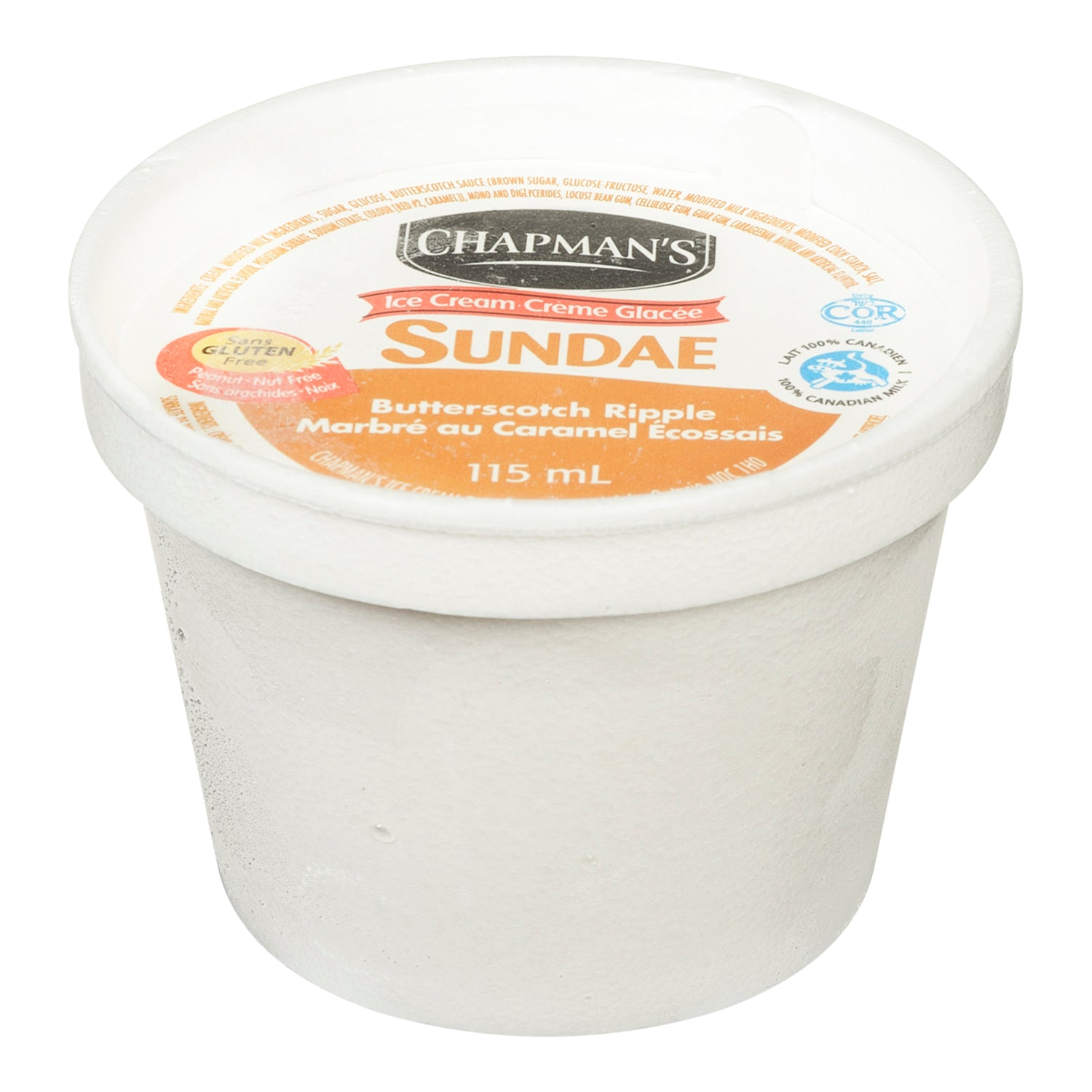 Chapman's Frozen Butterscotch Ripple Ice Cream Cups 115 ml - 24 Pack [$0.54/each]