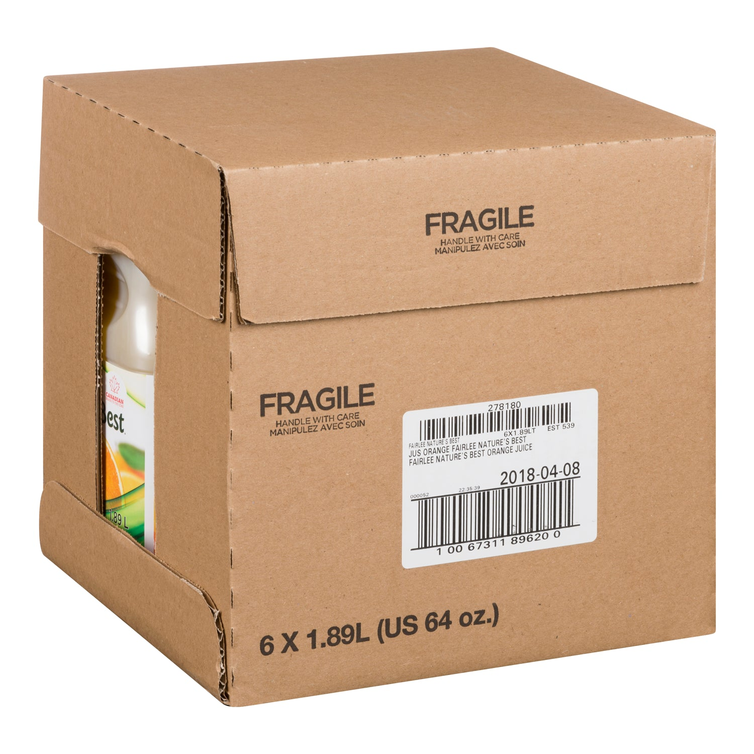 Fairlee Orange Juice 1.89 L - 6 Pack [$4.17/each]
