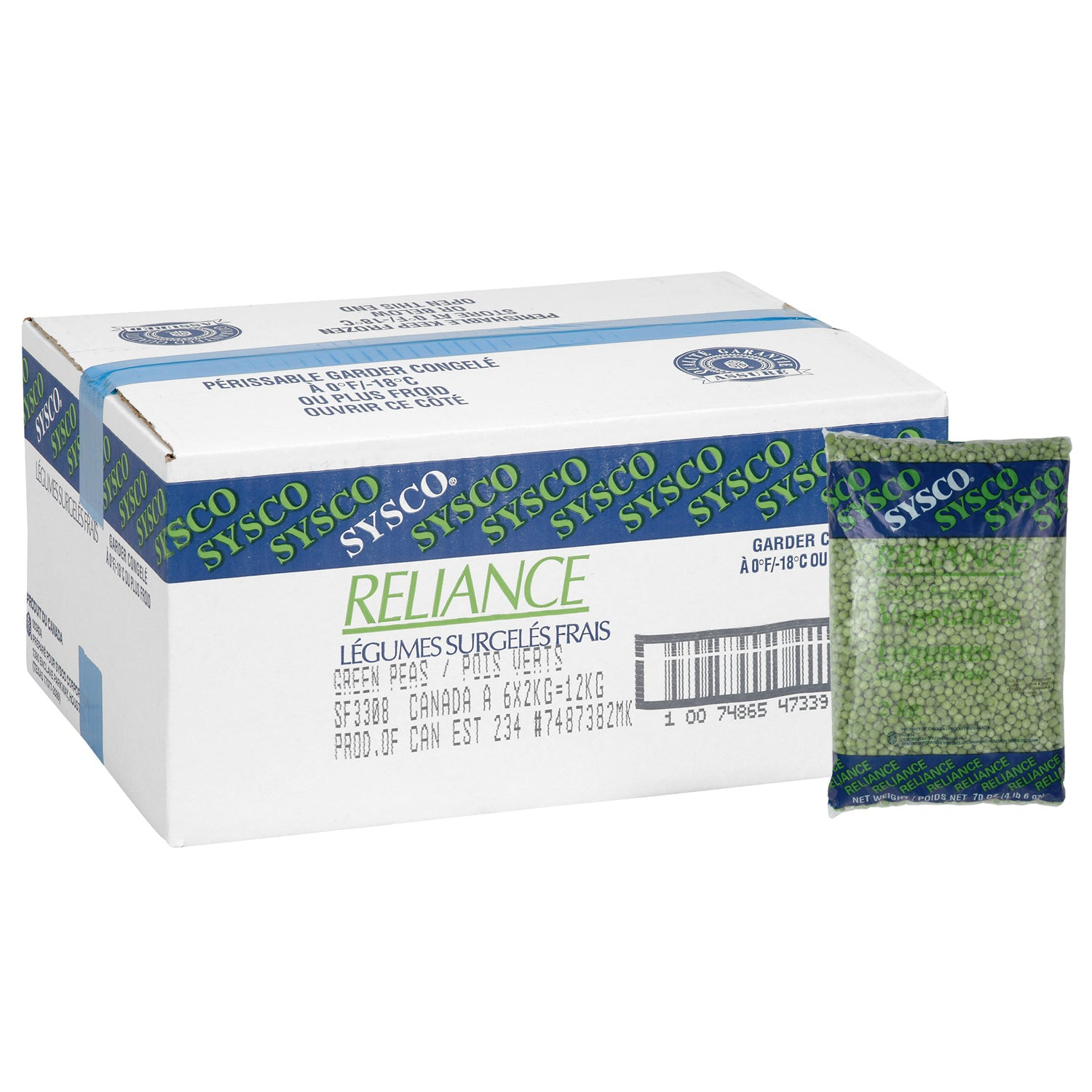 Sysco Reliance Frozen Green Peas 2 kg - 1 Pack [$3.75/kg]