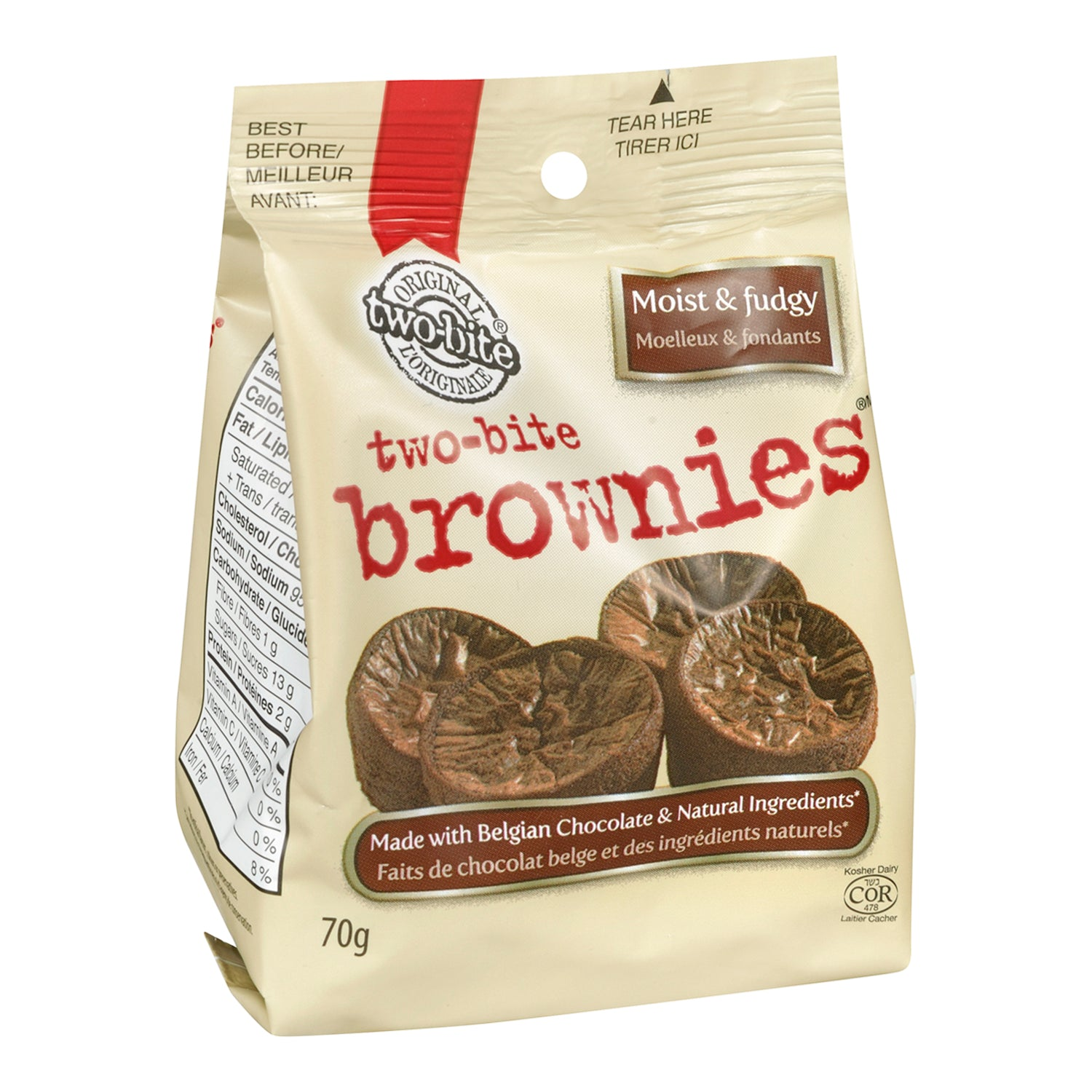 Grab and Go Frozen Two-Bite Brownies Snack 10 bags - 4 Pack [$1.25/each]