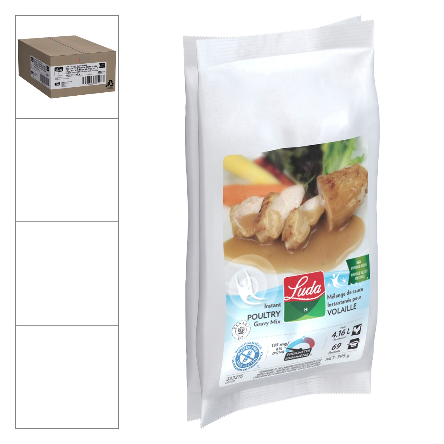 LUDA Low Sodium Instant Poultry Gravy Mix 395 g Gluten Free - 6 Pack [$8.33/pouch]