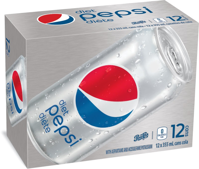 Diet Pepsi Soft Drink 355 ml - 12 Pack [$0.44/can]