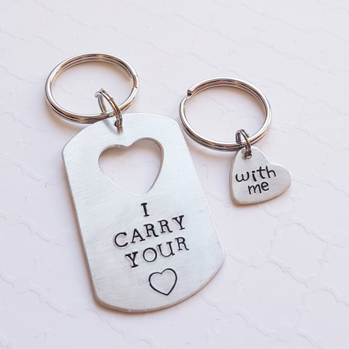 couples keychain set with dog tag and heart cut-out
