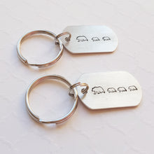 Load image into Gallery viewer, mom and baby bears tiny dog tag keychain