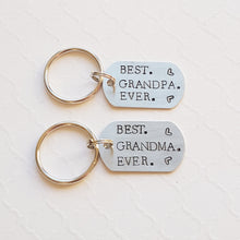 "Load image into Gallery viewer, ""best grandma/grandpa ever"" tiny dog tag keychain"