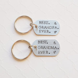 """best grandma/grandpa ever"" tiny dog tag keychain"