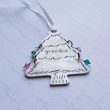 Load image into Gallery viewer, stamped christmas tree ornament for grandma with grandchildren's birthstones